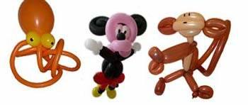 Mickey, eine Krake und der Affe - Luftballontiere - Ballonfiguren - Ballontiere - Luftballonfiguren